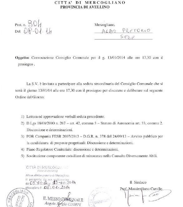 consiglio comunale 13 gennaio 2013